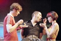 SHOPPING AND FUCKING   by Mark Ravenhill   design: Julian McGowan   director: Max Stafford-Clark  ,l-r: Pearce Quigley (Robbie), Lloyd Hutchinson (Mark), Caroline Catz (Lulu)  ,Royal Court Theatre Ups...
