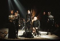 EDWARD II   by Christopher Marlowe   design: Sandy Powell   director: Gerard Murphy <br>,left: Katy Behean (Queen Isabella), Callum Dixon (Prince Edward)   standing centre: Ciaran Hinds (Roger Mortime...