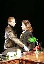 HAPGOOD   by Tom Stoppard   design: Colin Richmond   director: Rachel Kavanaugh <br>,David Birrell (Ridley), Josie Lawrence (Hapgood) ,Birmingham Repertory Theatre (BRT) / Birmingham, England   15/04/...