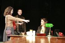 HAPGOOD   by Tom Stoppard   design: Colin Richmond   director: Rachel Kavanaugh <br>,l-r: Rachel Kavanaugh (director), David Birrell (Ridley), Josie Lawrence (Hapgood) ,Birmingham Repertory Theatre (B...
