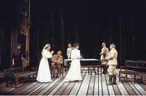 THREE SISTERS   by Anton Chekhov   set design: Timothy O'Brien   costumes: Louise Belson   director: John Barton <br>,l-r: Harriet Walter (Masha), Stella Gonet (Irina), Joseph O'Conor (Chebutykin), Ni...