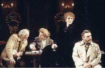 THREE SISTERS   by Anton Chekhov   set design: Timothy O'Brien   costumes: Louise Belson   director: John Barton <br> ,l-r: Joseph O'Conor (Chebutykin), Stella Gonet (Irina), Harriet Walter (Masha), B...