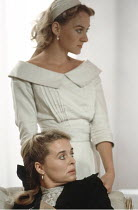 THREE SISTERS   by Anton Chekhov   in a new version by Frank McGuinness   director: Adrian Noble <br>,(top) Niamh Cusack (Irina)   (bottom) Sinead Cusack (Masha)  ,Gate Theatre, Dublin production / Ro...