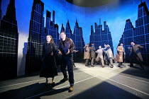 ON THE WATERFRONT   by Budd Schulberg with Stan Silverman   original set designer: Patrick Hughes    ,associate set & costume designer: Helen Fownes-Davies   director: Steven Berkoff <br>,front left:...