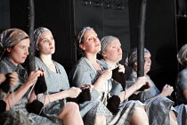 MACBETH  by Verdi  after Shakespeare  conductor: Richard Farnes  set design: Johan Engels  costumes: Brigitte Reiffenstuel  director: Tim Albery ~chorus of witches, knitting~Opera North, Leeds, Englan...