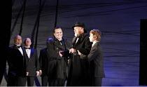MACBETH  by Verdi  after Shakespeare  conductor: Richard Farnes  set design: Johan Engels  costumes: Brigitte Reiffenstuel  director: Tim Albery ~l-r: Peter Auty (Macduff), David Robertson (King Dunca...