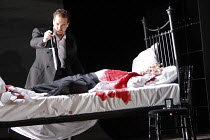 MACBETH  by Verdi  after Shakespeare  conductor: Richard Farnes  set design: Johan Engels  costumes: Brigitte Reiffenstuel  director: Tim Albery ~Banquo discovers the body of murdered King Duncan - l-...