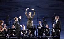 MACBETH  by Verdi  after Shakespeare  conductor: Richard Farnes  set design: Johan Engels  costumes: Brigitte Reiffenstuel  director: Tim Albery ~front left centre: Peter Auty (Macduff)   centre: Anto...