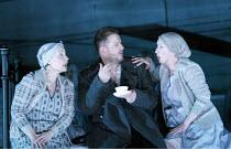 MACBETH  by Verdi  after Shakespeare  conductor: Richard Farnes  set design: Johan Engels  costumes: Brigitte Reiffenstuel  director: Tim Albery ~l-r: Irene Evans (Witch), Robert Hayward (Macbeth), Vi...