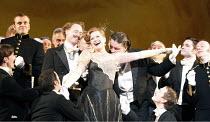 THE MERRY WIDOW   by Lehar   conductor: Oliver von Dohnanyi   set design: Tim Reed   costumes: Deirdre Clancy   director: John Copley <br>,centre: Amanda Roocroft (Hanna Glawari)      ,English Nationa...
