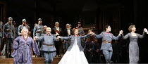 LA FILLE DU REGIMENT   by Gaetano Donizetti   conductor: Bruno Campanella   director: Laurent Pelly ~left, Dawn French (La Duchesse de Crackentorp) at dress rehearsal curtain call (Monday 8th Jan.^07)...