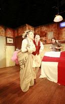 TINDERBOX   by Lucy Kirkwood   design: Lucy Osborne   director: Josie Rourke <br>,l-r: Sheridan Smith (Vanessa), Jamie Foreman (Saul), Bryan Dick (Perchik),Bush Theatre, London W12     28/04/2008...