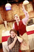 TINDERBOX   by Lucy Kirkwood   design: Lucy Osborne   director: Josie Rourke <br>,l-r: Bryan Dick (Perchik), Jamie Foreman (Saul),Bush Theatre, London W12     28/04/2008                  ,