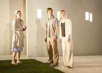 THE CITY   by Martin Crimp   design: Vicki Mortimer   lighting: Paule Constable   director: Katie Mitchell <br>,l-r: Amanda Hale (Jenny), Benedict Cumberbatch (Chris), Hattie Morahan (Clair)   ,Jerwoo...