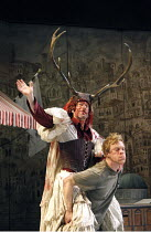THE TAMING OF THE SHREW   by Shakespeare,set design: Francis O^Connor   costumes: Joan O^Clery   director: Conall Morrison <br>,III/ii - l-r: Stephen Boxer (Petruchio), William Beck (Grumio) ,Royal Sh...