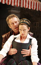 THE TAMING OF THE SHREW   by Shakespeare   ,set design: Francis O^Connor   costumes: Joan O^Clery   director: Conall Morrison <br>,II/i : Stephen Boxer (Petruchio), Michelle Gomez (Katherina),Royal Sh...