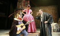 THE TAMING OF THE SHREW   by Shakespeare   set design: Francis O^Connor   costumes: Joan O^Clery   director: Conall Morrison <br>,III/i: Sean Kearns (Hortensio), Amara Karan (Bianca), Patrick Moy (Luc...