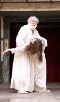 KING LEAR   by Shakespeare   ,design: Jonathan Fensom   director: Dominic Dromgoole <br>,V/iii: David Calder (King Lear), Jodie McNee (Cordelia)   ,Shakespeare^s Globe (SG), London SE1         02/05/2...