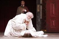 KING LEAR   by Shakespeare   design: Jonathan Fensom   director: Dominic Dromgoole <br>,V/iii: David Calder (King Lear), Jodie McNee (Cordelia)   ,Shakespeare^s Globe (SG), London SE1         02/05/20...