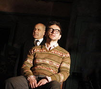 THE BIRTHDAY PARTY  by Harold Pinter  design: Jon Bausor  lighting: Jon Clark  director: David Farr  ~l-r: Nicholas Woodeson (Goldberg), Justin Salinger (Stan)~Lyric Hammersmith (LTH), London W6  12/0...