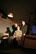 THE BIRTHDAY PARTY  by Harold Pinter  design: Jon Bausor  lighting: Jon Clark  director: David Farr  ~l-r: Nicholas Woodeson (Goldberg), Justin Salinger (Stan), Lloyd Hutchinson (McCann) ~Lyric Hammer...