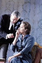 THE DEEP BLUE SEA   by Terence Rattigan  , design: Francis O^Connor   director: Edward Hall <br>,Simon Williams (William Collyer), Greta Scacchi (Hester Collyer)  ,Vaudeville Theatre, London WC2...