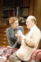 PYGMALION   by George Bernard Shaw   ,set design: Simon Higlett   costumes: Christopher Woods   director: Peter Hall <br>,Una Stubbs (Mrs Pearce), Tim Pigott-Smith (Henry Higgins),Theatre Royal Bath p...