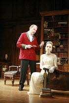 PYGMALION   by George Bernard Shaw   ~set design: Simon Higlett   costumes: Christopher Woods   director: Peter Hall ~~Tim Pigott-Smith (Henry Higgins), Michelle Dockery (Eliza Doolittle)~Theatre Roya...
