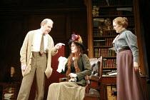 PYGMALION   by George Bernard Shaw   set design: Simon Higlett   costumes: Christopher Woods   director: Peter Hall <br>,l-r: Tim Pigott-Smith (Henry Higgins), Michelle Dockery (Eliza Doolittle), Una...