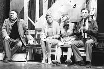 NOISES OFF   by Michael Frayn   set design: Michael Annals   costumes: Brenda Murphy   director: Michael Blakemore <br>,l-r: Michael Aldridge (Selsdon Mowbray), Jan Waters (Belinda Blair), Patricia Ro...