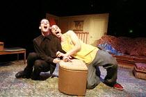 PIRANHA HEIGHTS   by Philip Ridley   design: Jon Bausor   director: Lisa Goldman <br>,l-r: Luke Treadaway (Garth), John Macmillan (Medic)   ,Soho Theatre, London W1       21/05/2008...