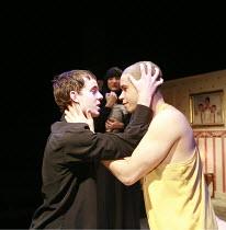 PIRANHA HEIGHTS   by Philip Ridley   design: Jon Bausor   director: Lisa Goldman <br>,l-r: Luke Treadaway (Garth), John Macmillan (Medic) with (rear) Jade Williams (Lilly)   ,Soho Theatre, London W1...