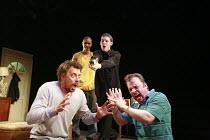 PIRANHA HEIGHTS   by Philip Ridley   design: Jon Bausor   director: Lisa Goldman <br>,l-r: Matthew Wait (Terry), (rear) John Macmillan (Medic), Luke Treadaway (Garth), Nicolas Tennant (Alan) ,Soho The...