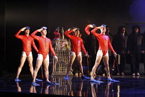 BLUEBEARD   by Jacques Offenbach   based on the story by Charles Perrault   conductor: Richard Balcombe   design: George Souglides   director: Stephen Langridge <br>,frogmen dancers,Grange Park Opera...