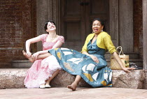 ROMEO AND JULIET   by Shakespeare   set design: Robert Innes Hopkins   costumes: Fotini Dimou   director: Timothy Sheader <br>,l-r: Laura Donnelly (Juliet), Claire Benedict (Nurse)  ,Open Air Theatre...