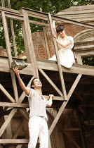 ROMEO AND JULIET   by Shakespeare   ,set design: Robert Innes Hopkins   costumes: Fotini Dimou   director: Timothy Sheader <br>,Nicholas Shaw (Romeo), Laura Donnelly (Juliet)   ,Open Air Theatre (OAT)...