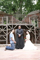ROMEO AND JULIET   by Shakespeare   set design: Robert Innes Hopkins   costumes: Fotini Dimou   director: Timothy Sheader <br>,l-r: Nicholas Shaw (Romeo), Richard O^Callaghan (Friar Lawrence), Laura D...