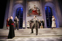 AFTERLIFE   by Michael Frayn   set design: Peter Davison   costumes: Sue Willmington   lighting: Neil Austin   director: Michael Blakemore <br>,front, l-r: David Burke (Prince Archbishop of Salzburg),...
