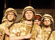 BLACK WATCH   by Gregory Burke   director: John Tiffany   front l-r: Nabil Stewart (Nabsy), Ali Craig (Stewarty), David Colvin (Macca) National Theatre of Scotland production / BITE:08 / Barbican Th...
