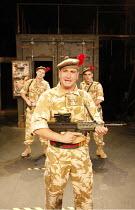BLACK WATCH   by Gregory Burke   director: John Tiffany   l-r: Paul Rattray (Cammy), Michael Nardone (Sergeant), Emun Elliott (Fraz) National Theatre of Scotland production / BITE:08 / Barbican Thea...