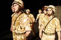 BLACK WATCH   by Gregory Burke   director: John Tiffany   front l-r: Nabil Stewart (Nabsy), Ali Craig (Stewarty), Henry Pettigrew (Rossco), David Colvin (Macca) National Theatre of Scotland producti...