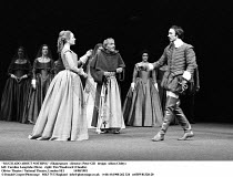 'MUCH ADO ABOUT NOTHING' (Shakespeare - director: Peter Gill   design: Alison Chitty) left: Caroline Langrishe (Hero)   right: Tim Woodward (Claudio) Olivier Theatre / National Theatre, London SE1...