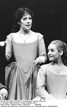 MUCH ADO ABOUT NOTHING   by Shakespeare - director: Peter Gill~l-r: Penelope Wilton (Beatrice), Caroline Langrishe (Hero)~Olivier Theatre / National Theatre, London SE1            14/08/1981