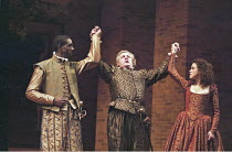 'MUCH ADO ABOUT NOTHING' (Shakespeare - director: Michael Boyd   design: Tom Piper) l-r: Rhashan Stone (Count Claudio), Peter Wight (Don Pedro), Emily Bruni (Hero) Royal Shakespeare Company / Royal...