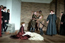 'MUCH ADO ABOUT NOTHING' (Shakespeare - director: Michael Boyd   design: Tom Piper) shaming of Hero: 2nd left: Alex Jennings (Benedick)   on stage: Siobhan Redmond (Beatrice), Emily Bruni (Hero)   re...