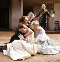 MUCH ADO ABOUT NOTHING   by Shakespeare   director: Josie Rourke IV/i - denunciation of Hero, Hero faints - clockwise from front: Georgina Rich (Hero), Tricia Kelly (Ursula),  Samuel West (Benedick)...