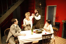 ON THE ROCKS   by Amy Rosenthal   design: Paul Burgess   director: Claire Lizzimore   l-r: Nick Caldecott (Jack), Tracy-Ann Oberman (Frieda), Ed Stoppard (D H Lawrence), Charlotte Emmerson (Katherine...