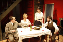 ON THE ROCKS   by Amy Rosenthal   design: Paul Burgess   director: Claire Lizzimore   l-r: Nick Caldecott (Jack), Tracy-Ann Oberman (Frieda), Charlotte Emmerson (Katherine), Ed Stoppard (D H Lawrence...