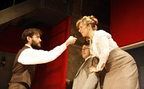 ON THE ROCKS   by Amy Rosenthal   design: Paul Burgess   director: Claire Lizzimore   l-r: Ed Stoppard (D H Lawrence), Nick Caldecott (Jack), Tracy-Ann Oberman (Frieda) Hampstead Theatre (HT), Londo...