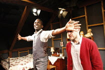 l-r: Jimmy Akingbola (Jimmy Porter), Simon Harrison (Cliff Lewis) in LOOK BACK IN ANGER by John Osborne at the Jermyn Street Theatre, London SW1  02/07/2008  design: Marialena Kapotopoulou   director...